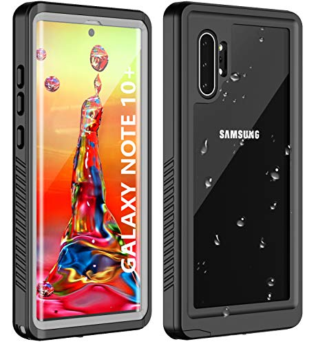 Huakay Samsung Galaxy Note 10+ Waterproof Case Note 10 Plus Waterproof Case, Full Body 360° Protective Shockproof Dirtproof Sandproof IP68 Phone Case for Samsung Note 10+ 6.8inch(Black/Clear Back)