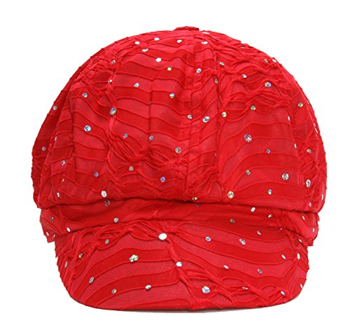 Red Cap Clothing (Top Headwear Women's Glitter Sequin Trim Newsboy Style Relaxed Fit Hat Cap - Red)