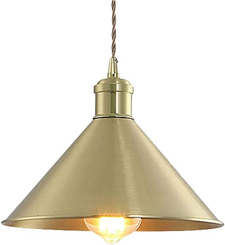 SUSUO 11.81 W Pure Golded Contemporary Ceiling Pendant Lighting with Conical Shade in Warm Brass,Farmhouse Chandelier Gold Pendant