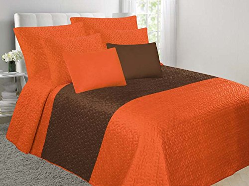 GorgeousHomeLinen (YAFA) 2 Shade Color Smooth Hypoallergenic Comfortable Bedspread Bed Dressing +Pillow Cases + Breakfast Cushion 4PC Quilt Set (KING, ORANGE/BROWN) (Cushion Breakfast)