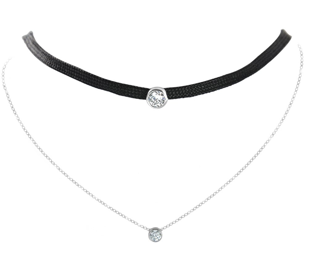 Paialco Cubic Zirconia Halo Choker Necklace Double Layers Sterling Silver White Gold Plating