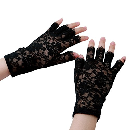 HENGSONG 1Pair Sexy Woman Gloves Mittens Lace Gothic Wedding Bride Elegant Evening Party Dress Fingerless Black