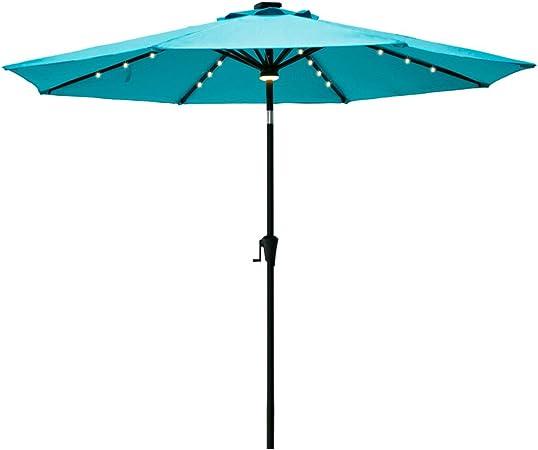 Amazon Com Flame Shade 9 Ft Outdoor Patio Umbrella With Solar Led Lights And Tilt Aqua Blue Garden Outdoor