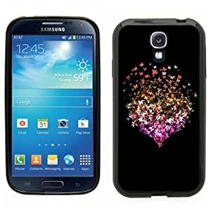 Samsung Galaxy S4 SIIII Black Rubber Silicone Case - Butterfly Heart art. Butterfiles create a heart