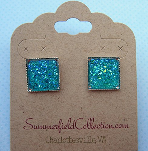 aqua-blue-geometric-square-shaped-flat-faux-druzy-stud-earrings-12mm-statement-silver-tone