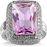 Women Fashion 925 Sterling Silver Pink Topaz Gemstone Ring Wedding Jewelry New (6)