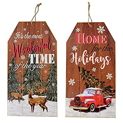 Christmas Decorations Celebrate a Holiday Wood Signs Wall Decor Farmhouse Indoor Outdoor Country Yard Porch Plaque Winter Hanging With Cord It's the most Wonderful Time Wooden Hanger Decore Set 2 Pack: Home & Kitchen