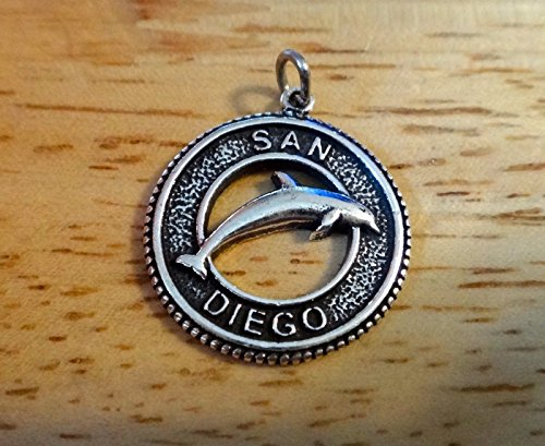 Sterling Silver 19mm say San Diego California Dolphin Charm Jewelry Making Supply, Pendant, Charms, Bracelet, DIY Crafting by Wholesale Charms