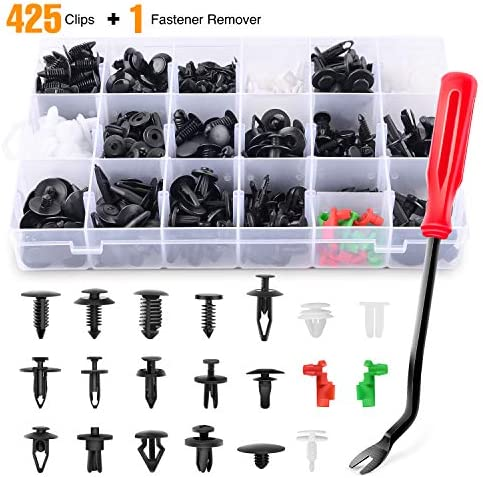 GOOACC 425 Pcs Car Body Retainer Clips Set Tailgate Handle Rod Clip & Fastener Remover – 19 Most Popular Sizes Auto Push Pin Rivets Set -Door Trim Panel Clips for GM Ford Toyota Honda Chrysler