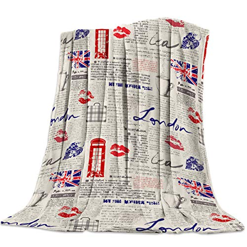 CosyBright Lightweight Throw Blanket London Paper with Lip Print and Phone Booth Wallpaper Soft Flannel Fleece All Season Fleece Blanket for Living Room Bedroom Sofa Couch, 39
