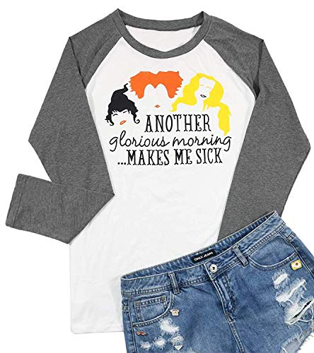 BANGELY Women's Another Glorious Morning Makes ME Sick Shirt Sanderson Sisters Halloween Graphic Tops Size XX-Large (Grey) -