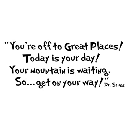 Amazon.com: Witkey Dr seuss You\'re off to great places... Wall Vinyl ...