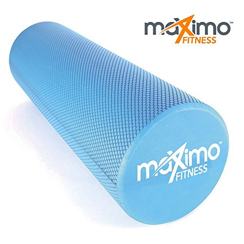 """Maximo Fitness Foam Roller for Muscles Trigger Point 18"""" x 6"""" (45cm x 15 cm) Perfect Self Massage tool for Home, Gym, Pilates, Yoga Instructions Included 1 Year Warranty."""