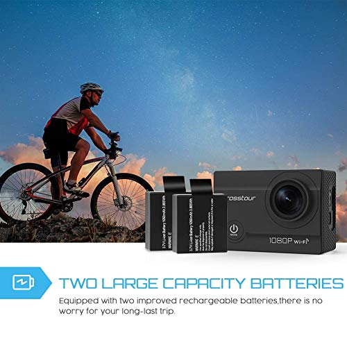 Crosstour CT7000 1080P WiFi Sports 170 Ultra Wide-Angle with PCS Rechargeable Batteries and Mounting Kit