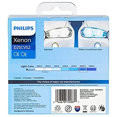 Philips 85122CVS2 D2S CrystalVision ultra Authentic Xenon HID Headlight Bulb, 2 Pack: Automotive