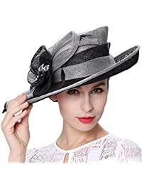 Koola's hats Champagne Brown 3 Layers Sinamay Kentucky Derby Hat Sun Hats Church Hats Summer Hats (Grey Black) [Apparel]