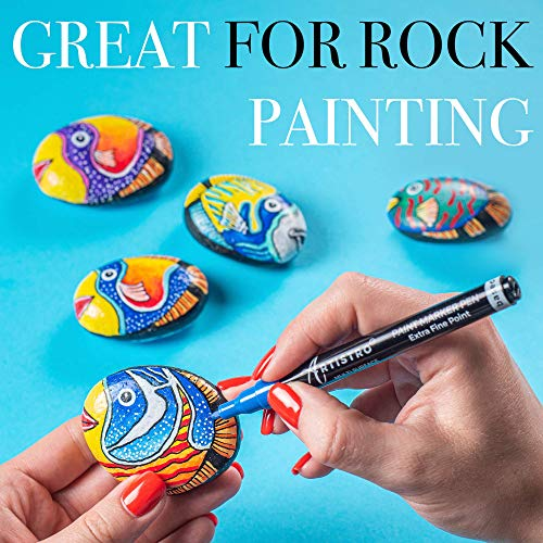 Acrylic Paint Pens for Rock, Stone, Ceramic, Glass, Mugs, Wood, Metal, Fabric, Canvas (30 Pack) 28 Assorted Colors + Extra Black & White Paint Markers. Extra Fine Tip 0.7mm