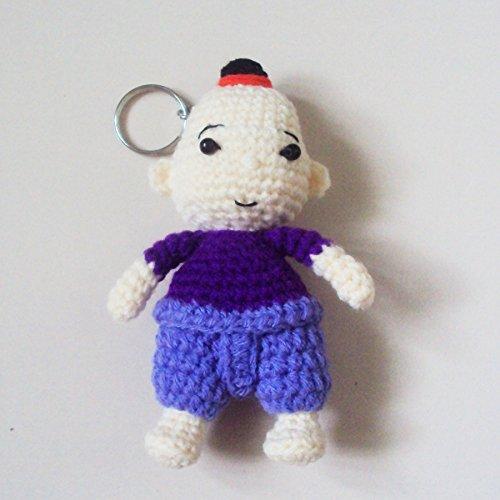 Thailand Men Costume For National (Agility Thai Boy in Purple & Violet National Costume Cute Doll Knitting Yarn Crochet Key Chain, Key)