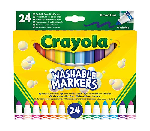 Crayola-24 Washable Markers Maxi Tip Assorted Colours for School and Leisure Time 58-6570