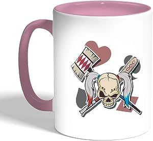 Printed Coffee Mug, Pink Color, Skull