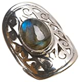 StarGems(tm) Natural Top Quality Blue Fire Labradorite Handmade Boho 925 Sterling Silver Ring, size 8.75