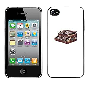 SoulCase / Apple Iphone 4 / 4S / Retro Vintage Typewriter Painting / Slim Black Plastic Case Cover Shell Armor