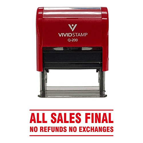 All Sales Final No Refunds No Exchanges Self Inking Rubber Stamp (Red Ink) - Medium