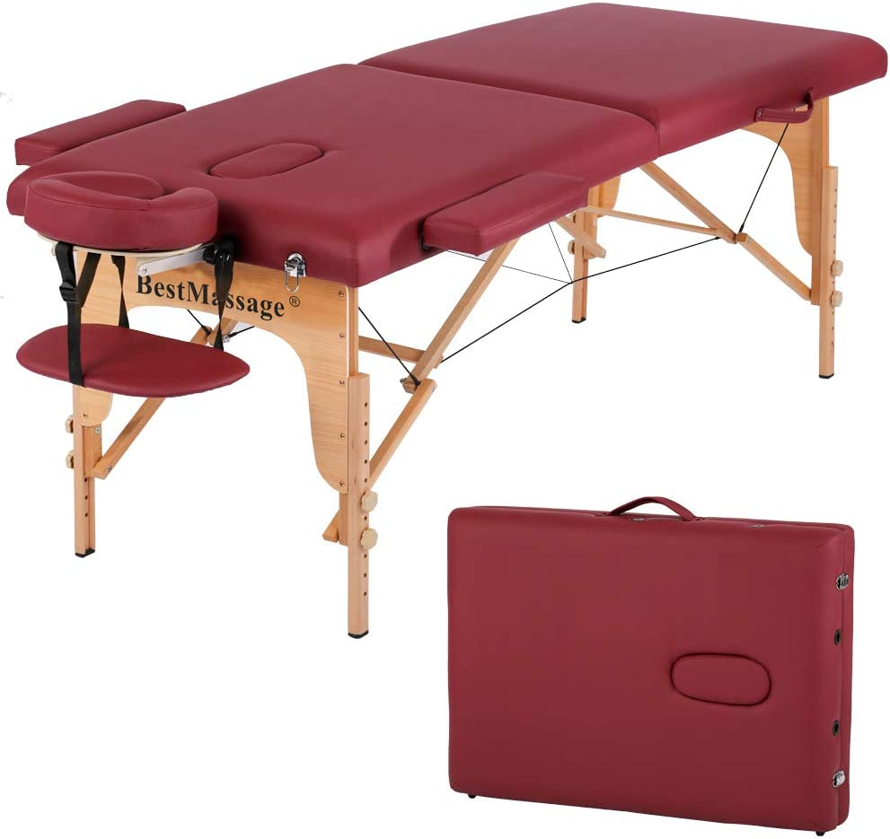Massage Table Massage Bed Spa Bed PU Portable 10 Inches 10 Fold Heigh  Adjustable Massage Table Bed w/Free Carry Case Facial Cradle Salon Tattoo  Bed