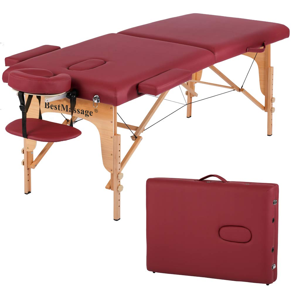 Massage Table Massage Bed Spa Bed PU Portable 84 inch 2 Fold Heigh Adjustable Massage Table Bed w/Free Carry Case Facial Cradle Salon Tattoo Bed
