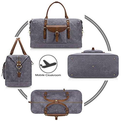 Plambag Oversized Duffel Bag, Waterproof Canvas Leather Trim Overnight Luggage Bag(Grey) by Plambag (Image #3)