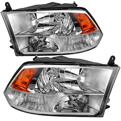 Passenger And Driver Headlight Assembly for 2009-2018 Dodge Ram 1500 2500 3500 Pickup Quad Headlamp Replacement,Chrome Housing Amber Reflector,One-year warranty(Quad Models Only)