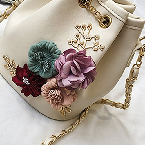 Embroidery Bucket Purse Purse With Satchel Strap with Felice for Chain Beige Womens Bag Mini Cactus Flower Drawstring Girls Crossbody qFxEXx