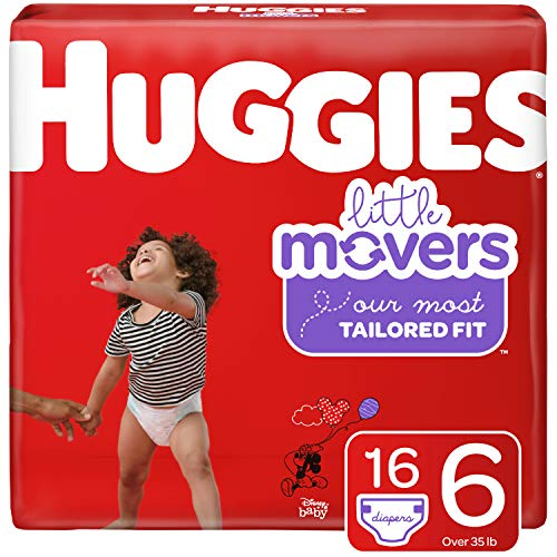 HUGGIES Little Movers Diapers, Size 6 (35+ lb.), 16 Ct, Jumbo Pack (Packaging May Vary)
