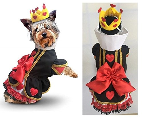 Dog Costume Royal Queen of Hearts Dress & Crown Wonderland Character Outfit (Size 2) ()