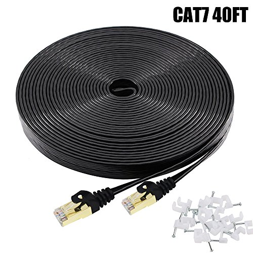 Cat7 Ethernet Cable 40 FT Black, BUSOHE Cat-7 Flat RJ45 Computer Internet LAN Network Ethernet Patch Cable Cord - 40 Feet