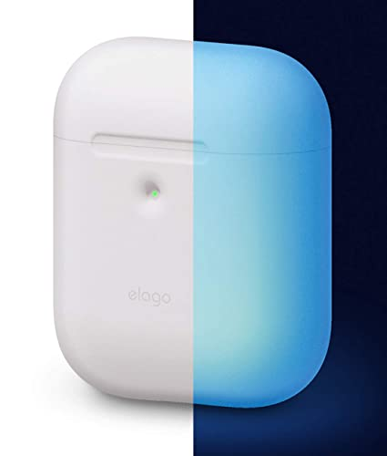 new concept f89fc 026b7 elago A2 Silicone Case [Nightglow Blue] - [Front LED Visible][Supports  Wireless Charging][Extra Protection] - for AirPods 2 Wireless Charging Case