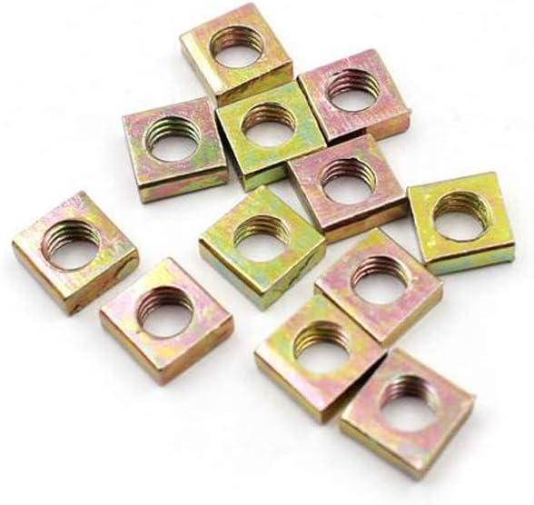 tuercas de tuerca tono bronce 100 tuercas cuadradas M3 de acero al carbono chapado en zinc tuercas de rosca tuercas cuadradas herramientas de cierre