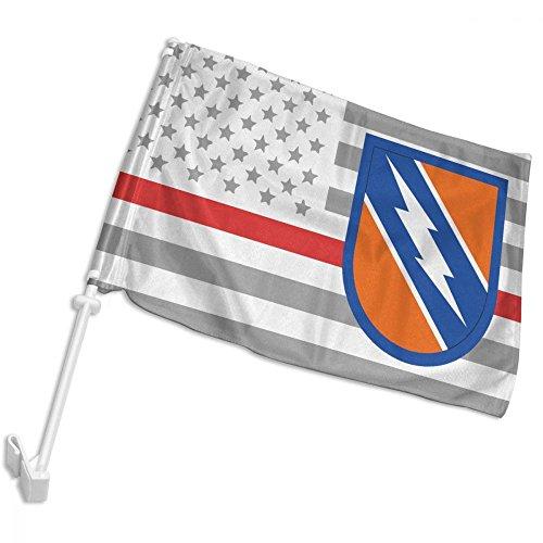 LWHXYEAB Thin Red Line American Flag US Army 982nd Signal Logo Car Flag,Car Window Flag,Hooks Onto Car Window,12 X (Signal Flag Hook)