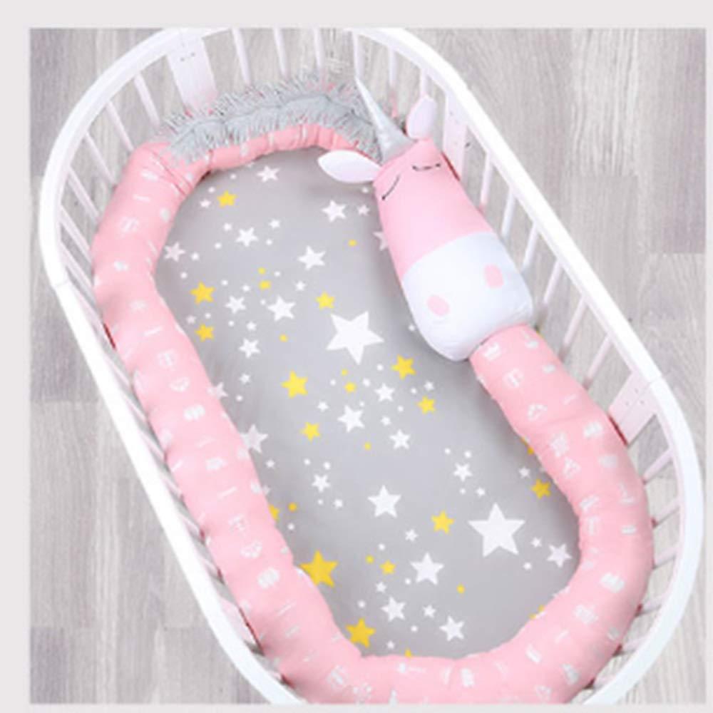 HUO ベビーベッドコットンフォーシーズン子供コリジョンバリア通気性枕 省スペース (色 : Pink)  Pink B07GGSMYGF