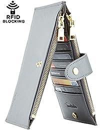 RFID Billetera de mujer con varios compartimientos para varias tarjetas con bolsillo con cierre