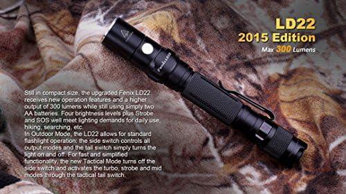 300 Lumen Fenix LD22 2015 Ed 131 yard LED Flashlight Includes 2 x AA Batteries