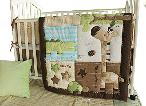 Cute Safari Neutral Baby Boy 8 Pieces Nursery Crib Bedding Set With Bumper
