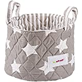 Minene 1238 - Cesta de tela pequeña, diseño estrellas, color gris