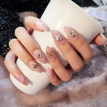 Echiq Marmor Stein Muster Fake Nagel Point Light Pink Acryl Nail