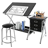 Yaheetech Adjustable Drafting Table Art & Craft Drawing Desk Art Hobby Folding w/Stool
