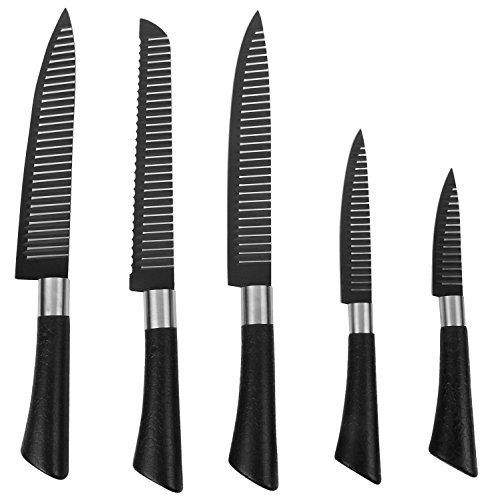 Haneez Knife Set made of Stainless Steel, Good Quality with Magnetic Stand/Board, 6-Piece, Black