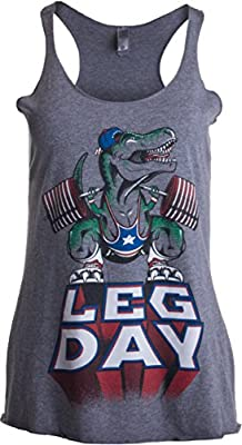 Ann Arbor T-shirt Co. Leg Day | Funny Weight Lifter Barbell Training Squat Workout Women's Racer Tank