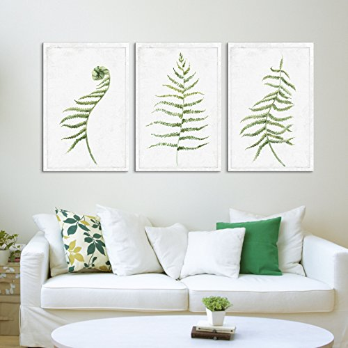 3 Panel Hand Drawn Water Paint Minimal Plant Artwork x 3 Panels