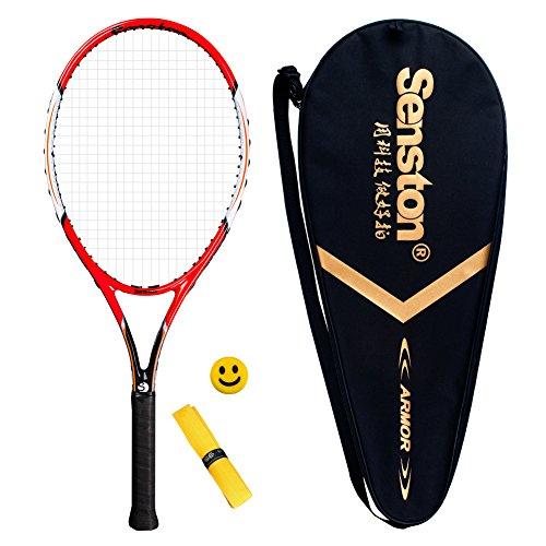Senston Adult Tennis Racket Prestrung Tennis Racquet,Strung with Cover,Tennis Overgrip, Vibration Damper(V75Red)
