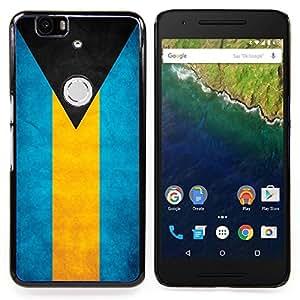 "Qstar Arte & diseño plástico duro Fundas Cover Cubre Hard Case Cover para Huawei Google Nexus 6P (Bandera nacional de la Serie-Bahamas"")"